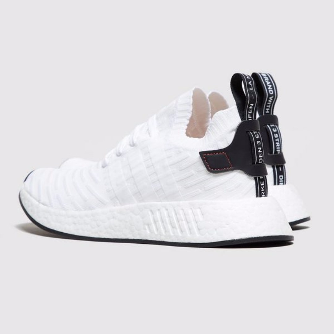 99852c7e333fa Adidas Originals NMD R2 Boost Primeknit White Black