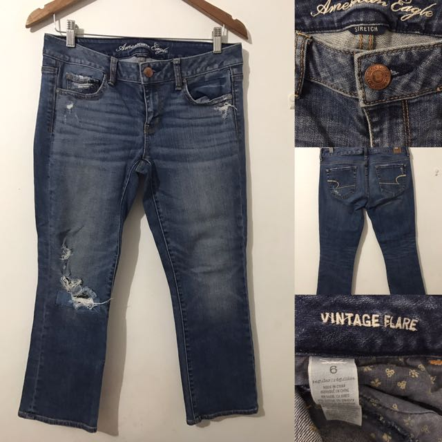 American Eagle Ripped Denim Jeans Vintage Flare