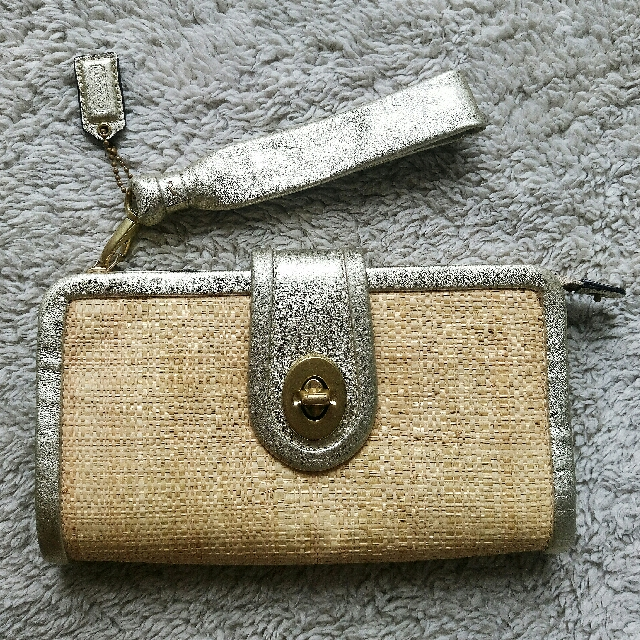 REPRICED!Authentic COACH! Straw Clutch