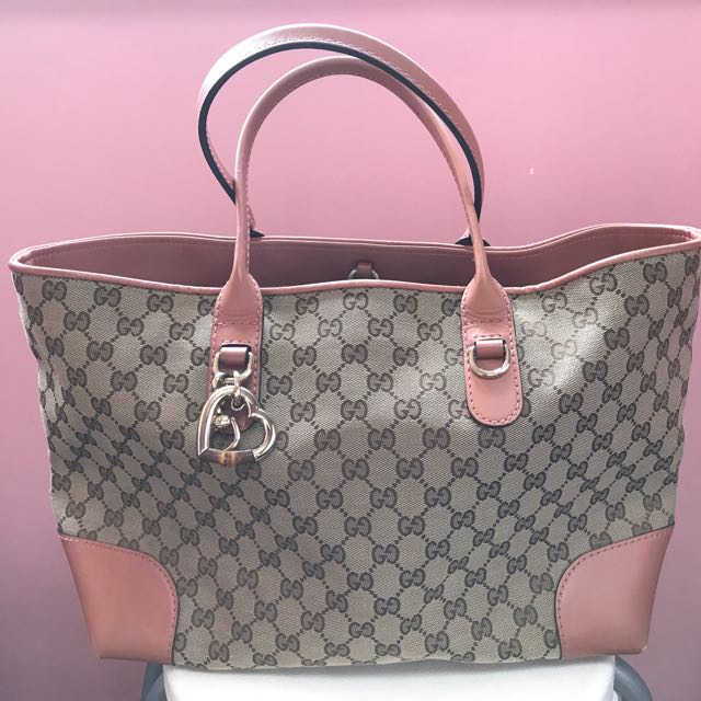 6c959b411895 Authentic Gucci Heart Bit Canvas Tote Bag GG fabric, Luxury, Bags ...
