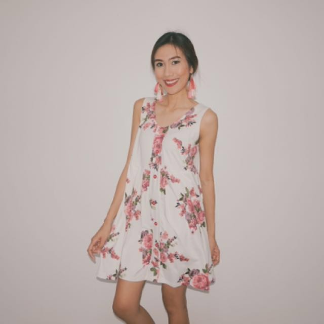 12c3cca1e577 BETTINA Babydoll Dress in Pink Floral, Women's Fashion, Clothes ...