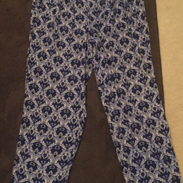 Blue And White Harem Pants