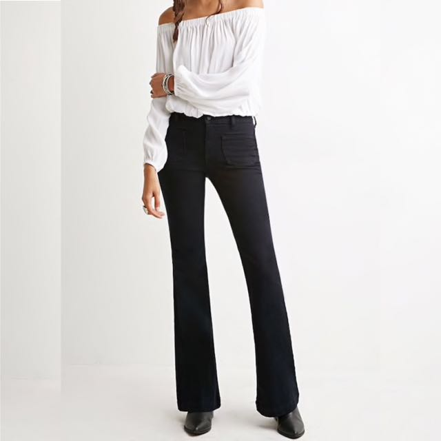 BNWT Forever 21 Patch Pocket Flare Jean (27)