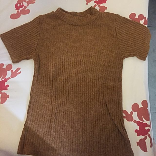 brown high neck top