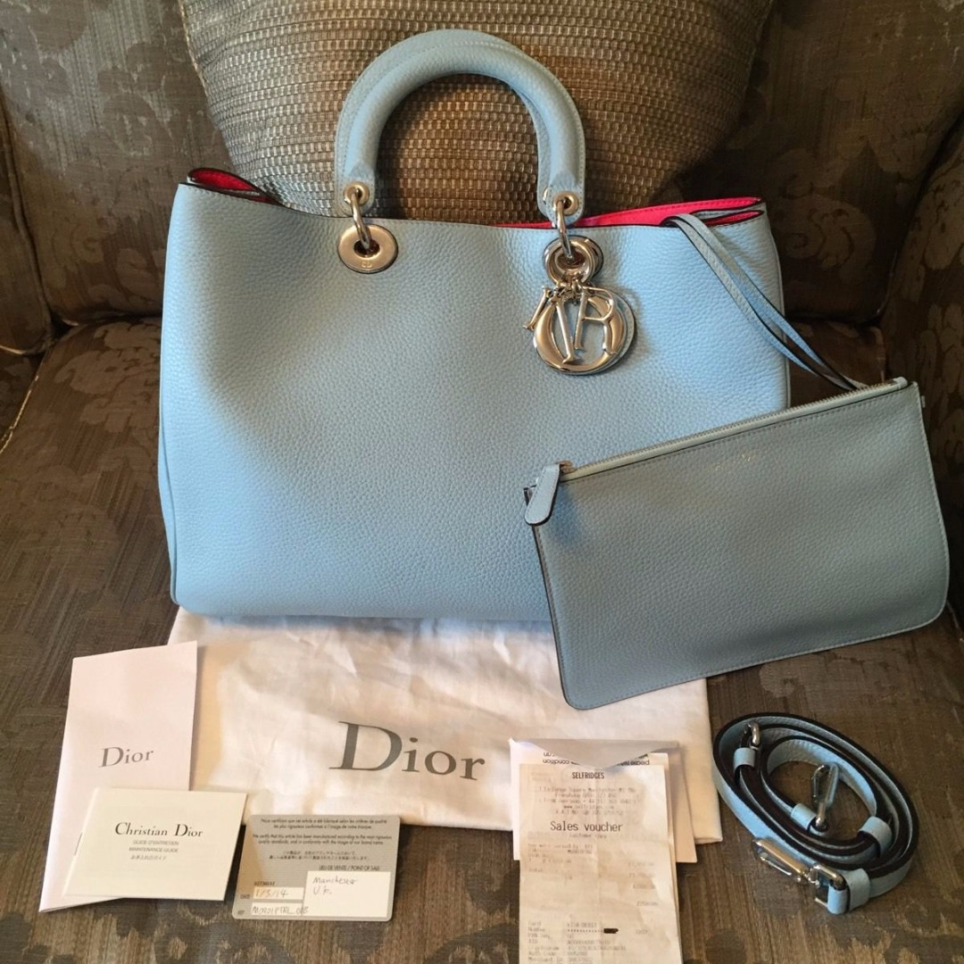4eb48870e Christian Dior Large Blue / Hot Pink Diorissimo Bag with Removable ...