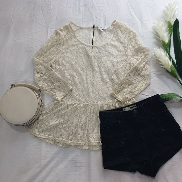Cotton On White Lace Peplum Top