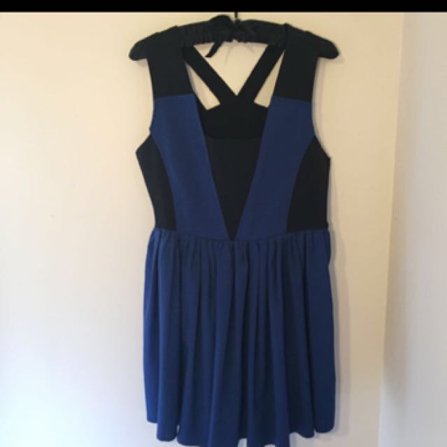 Electric Blue And Black Skater Style Dress