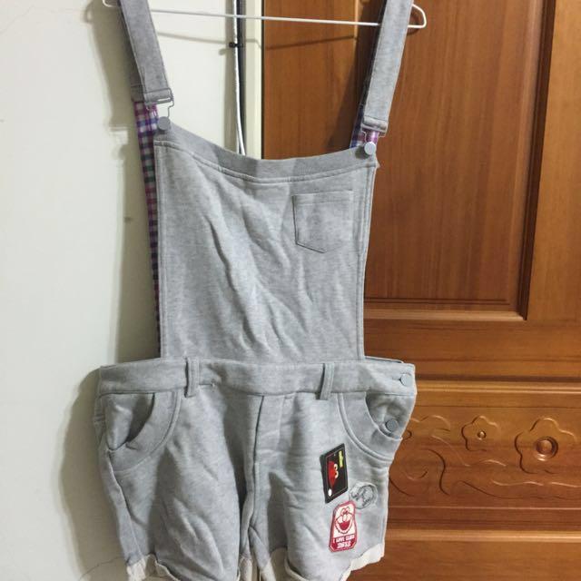 ELMO灰色吊帶短褲(L)