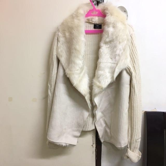 F&F White Fur Coat