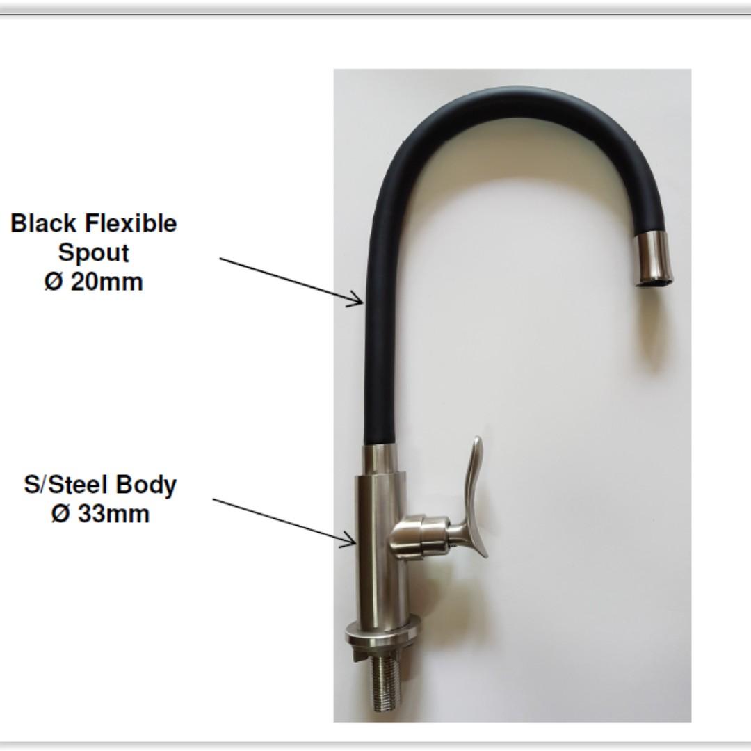 Flexible 304 Stainless steel kitchen tap black kitchen tap kitchen ...