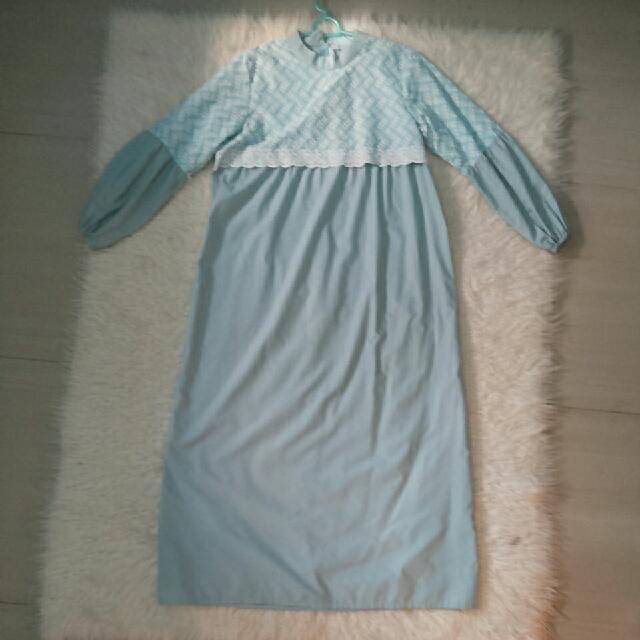 Gamis Biru Bordir Batik