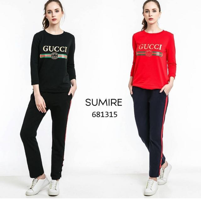 Gucci Top +Pants Set (Hanya Hitam XL)