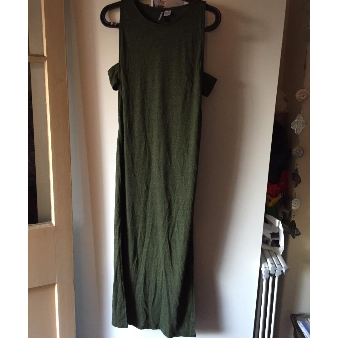 H&M olive maxi dress