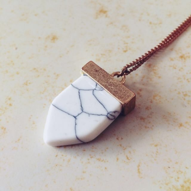 Marble and Gold Drop Necklace