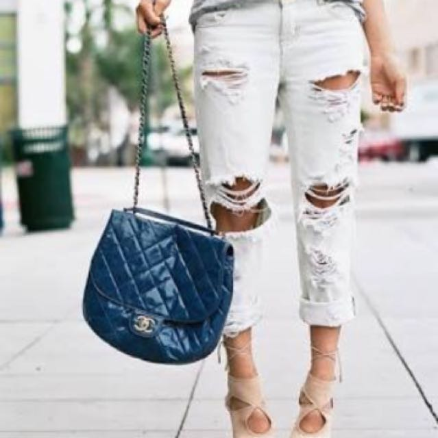 One Teaspoon White Ripped Boyfriend Jeans Size 8