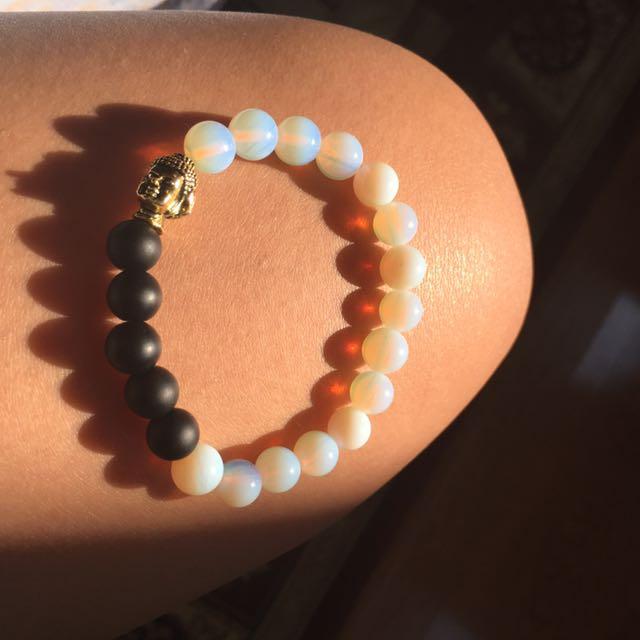 Opal, Onyx Buddha Bracelet
