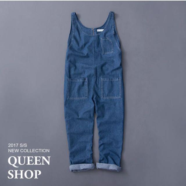 Queen shop親子系列造型口袋牛仔吊帶褲女m