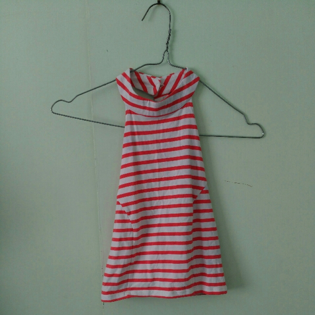 Red and White Stripe Singlet Crop Top