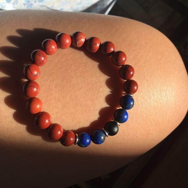 Red Jasper, Lapis Lazuli, Onyx Bracelet