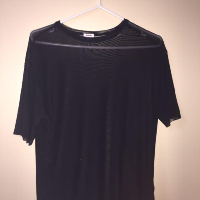 Sheer black t-shirt from Garage xs