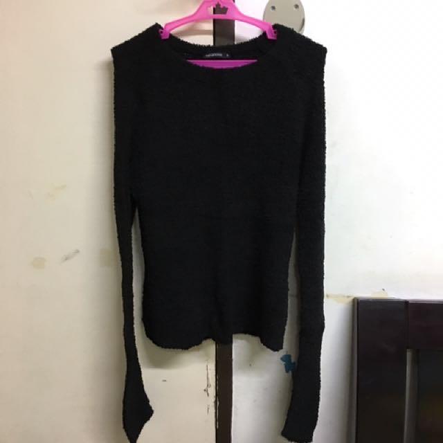 Terranova Black Wool Long Sleeves Top