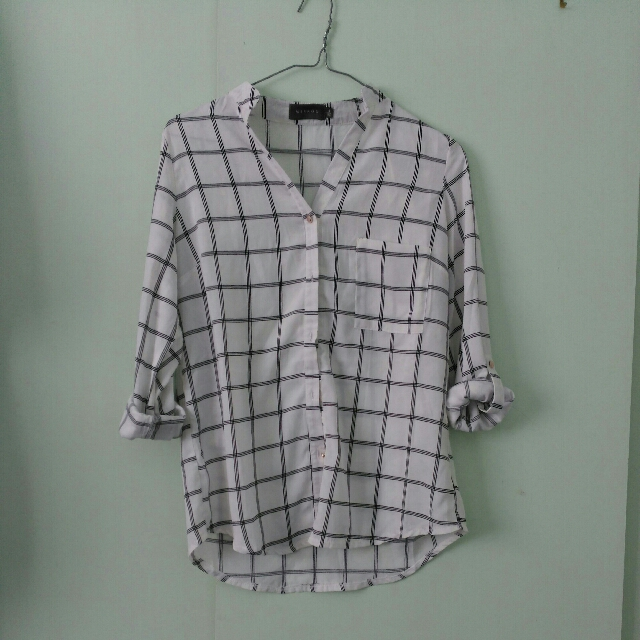 White and Black Checkered Top