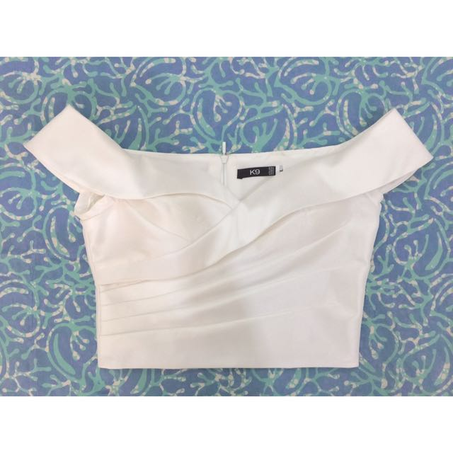 White Off-Shoulder Cropped Top