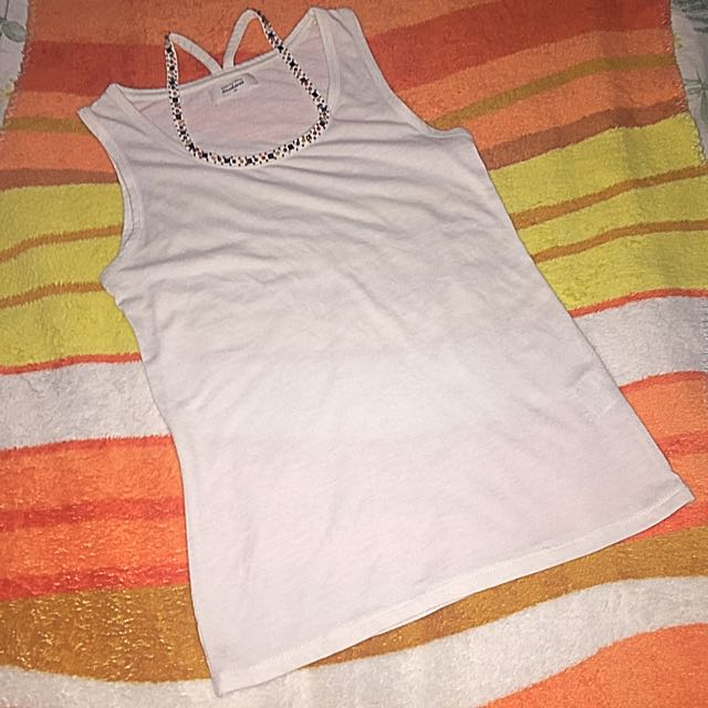 White Top Sleeveless With Beads Design in neckline