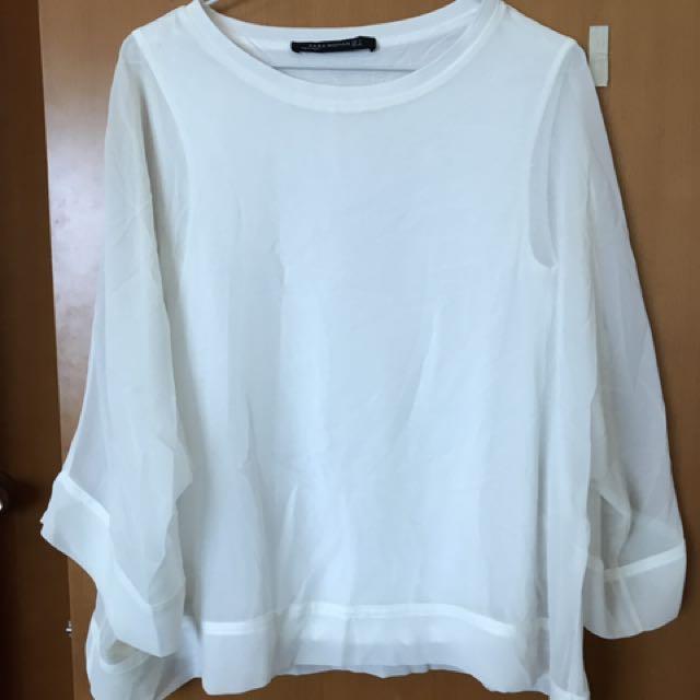 0e8fdc21cb826 XS White Sheer Shirt From Zara