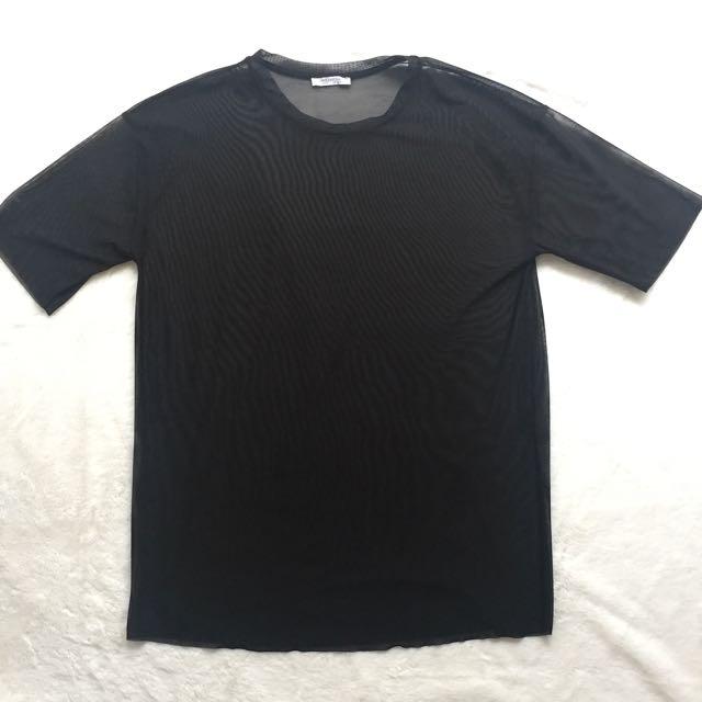 Zara TRF Black Mesh Top