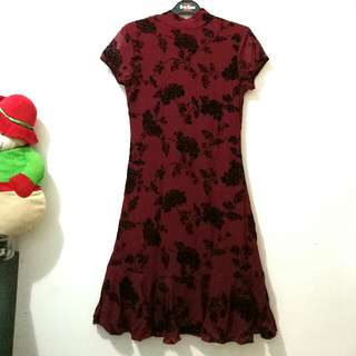 Dark Red Dress Chic Simple