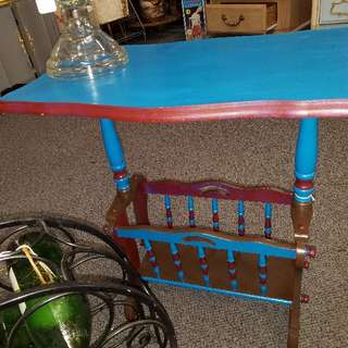 Refurbished Vintage Rich Jewel Towned Side Table