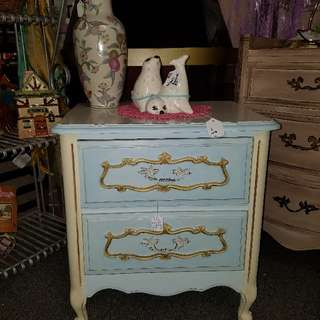 Small Refurbished Adorable French Provincial Double Drawer Side Table