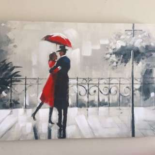 Two people in the rain