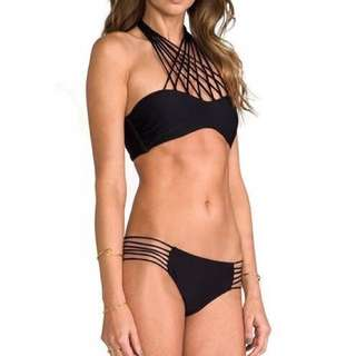 斷貨特賣!歐美時尚性感黑色素面綁帶多繩交叉鏤空比基尼泳衣組