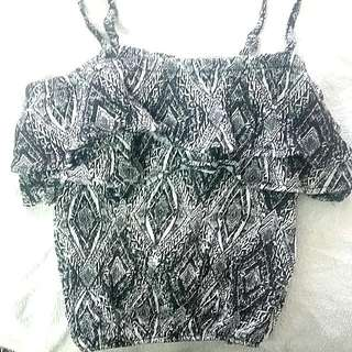 NEW Aztec Ruffled Crop Top