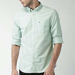 Pale Green Tommy Hilfiger Button Shirt