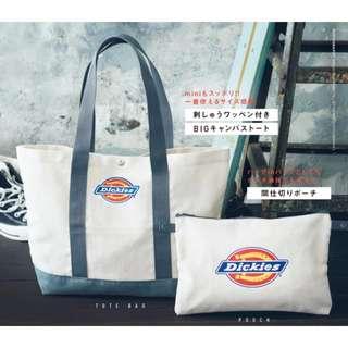 日本雜誌mini附錄Dickies特大環保帆布單肩托特包 TOTE BAG &收納包 兩件裝 男女通用 包平郵