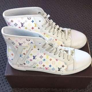 Authentic Louis Vuitton Multicolore White Sneakers Size 38.5