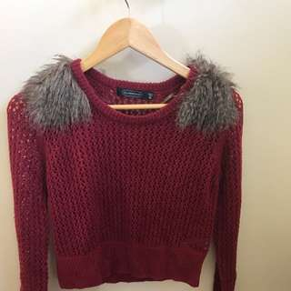 Fur shoulder burgundy top