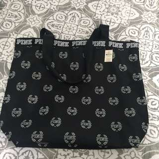 PINK VS black and white tote bag