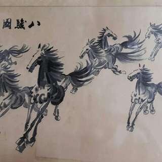 古董 湘繡 徐悲鴻 畫作系列 八駿圖 請勿議價
