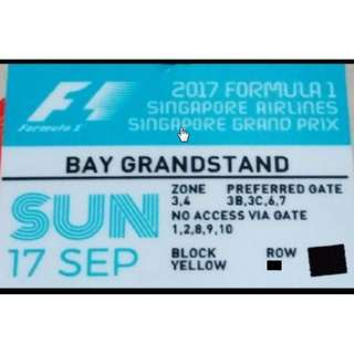 Sunday F1 Tickets Row 7, Bay Grandstand Yellow Zone