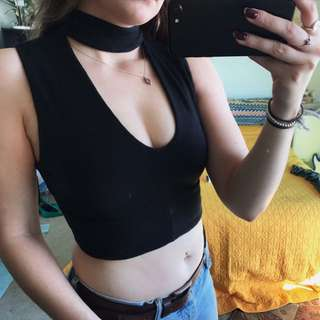 Kookai Black Crop