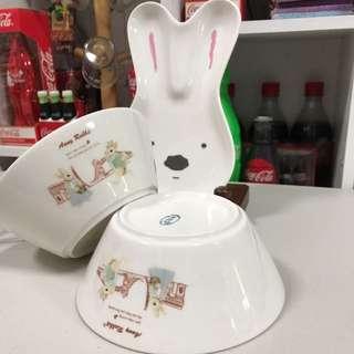🚚 安妮兔🐰點心碗*2+盤+匙