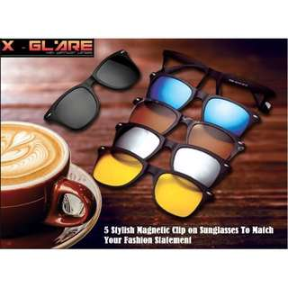 🔆👓Clip-on Magnetic Sunglasses with 5 design to Suit Your Fashion Statement - From X Glare👓🔆