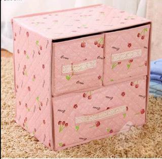 Kotak penyimpanan lemari kain 3 laci lucu murah dapat dilipat - HPR064