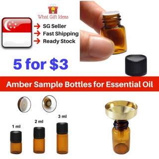 Bundle Amber Glass Bottles |1ML 2ML 3ML Sample Bottles | Essential Oil Bottles