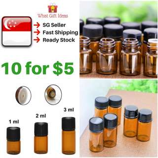 FREE POSTAGE 10 for $5 Amber Glass Bottles |Amber Sample Bottles | Mini Glass Bottles | 1ML 2ML 3ML