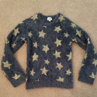 Seed Heritage Girls Sz 8-9 Grey Fluffy Jumper With Gold Stars